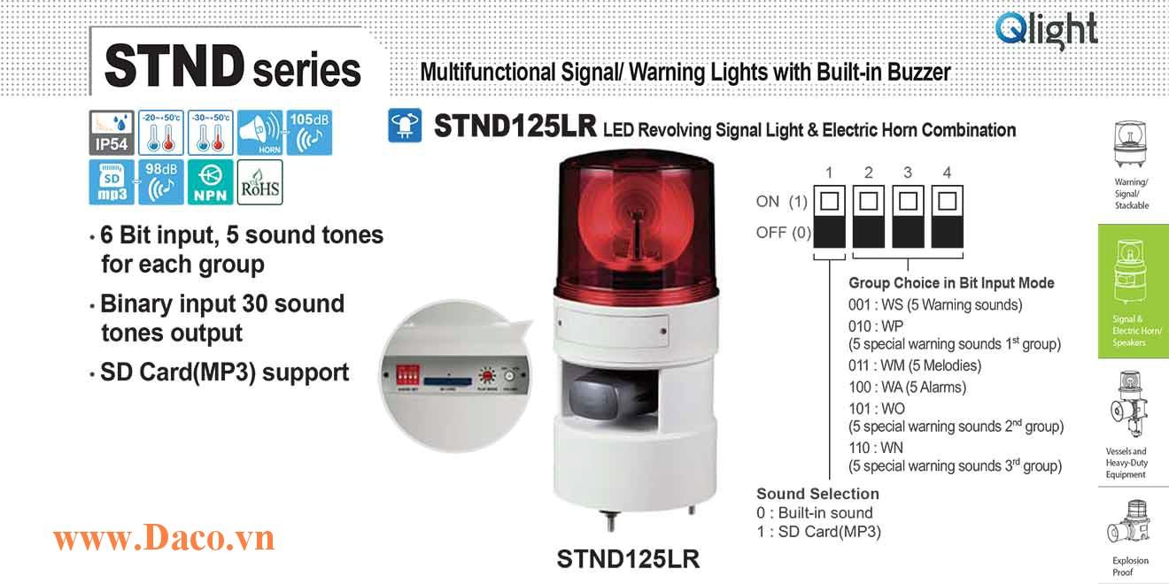 STND125LR-380-R Đèn báo hiệu quay âm MP3 Qlight Φ125 Bóng LED 380VAC IP54