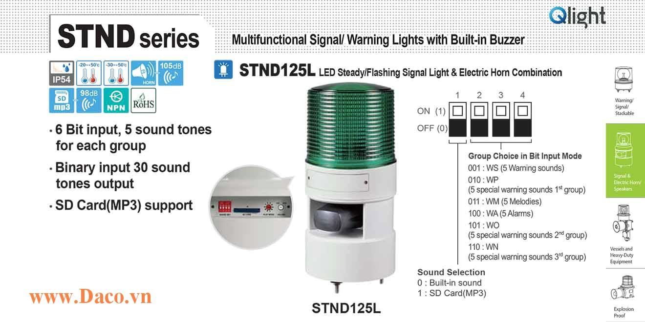 STND125L-380-B Đèn báo hiệu nhấp nháy âm MP3 Qlight Φ125 Bóng LED 380VAC IP54
