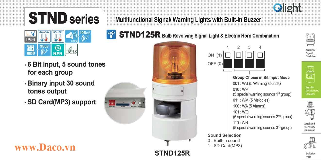 STND125R-380-R Đèn báo hiệu quay âm MP3 Qlight Φ125 Bóng Sợi đốt 380VAC IP54