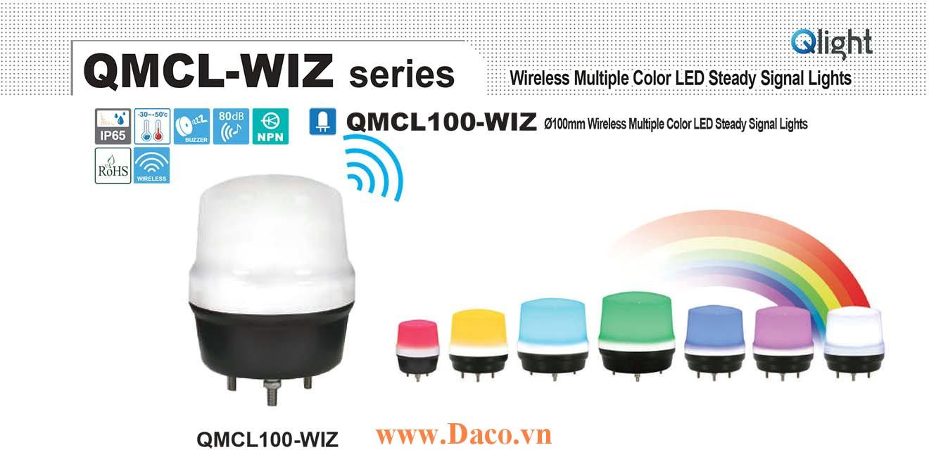 QMCL100-WIZ-BZ-24 Đèn báo không dây 7 màu Qlight Φ100 Bóng LED 24VDC IP65, CE