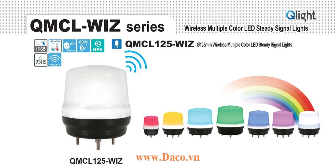 QMCL125-WIZ-BZ-24 Đèn báo không dây 7 màu Qlight Φ125 Bóng LED 24VDC IP65, CE