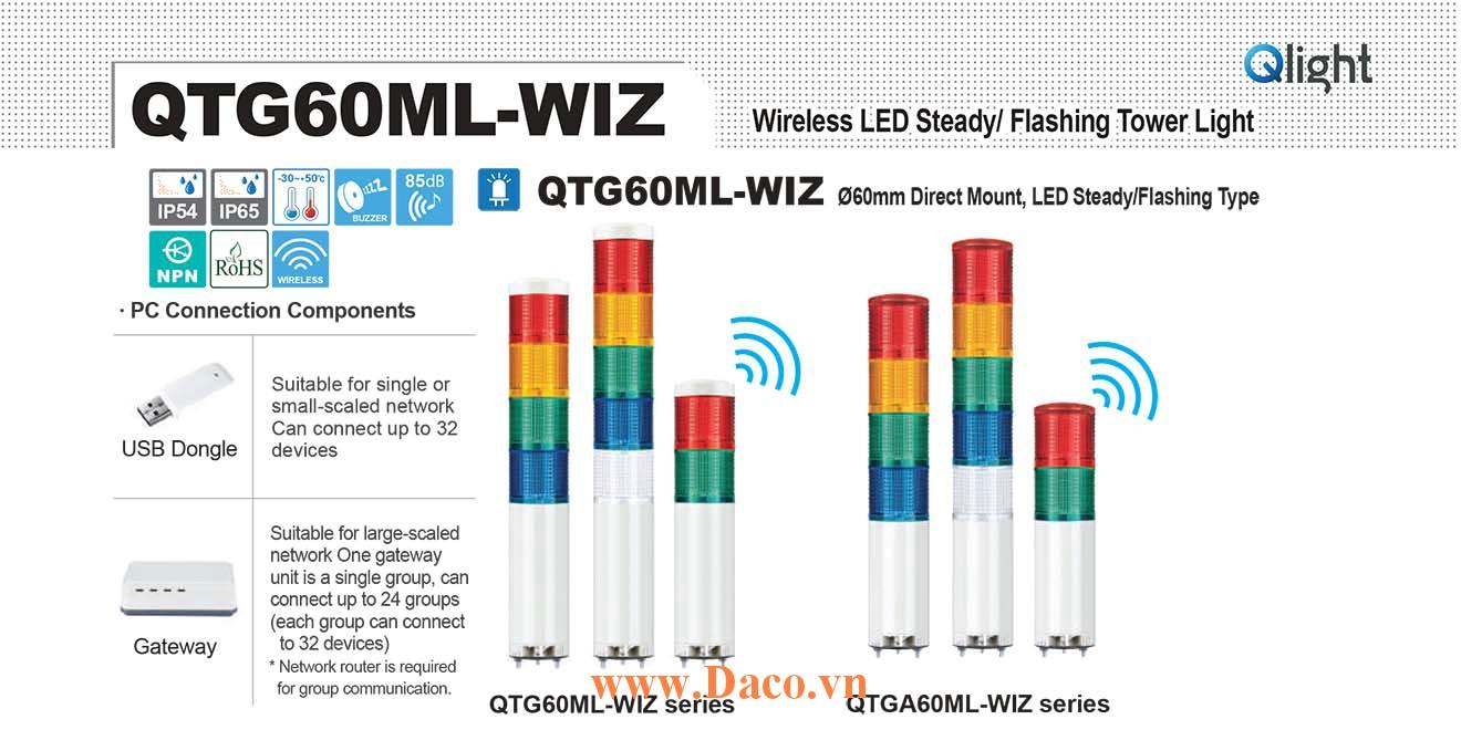 QTGA60MLF-WIZ-BZ-5-110/220-RAGBW-TWA45 Đèn tháp không dây Qlight Φ60 Bóng LED 5 tầng Còi Buzzer 85dB IP54