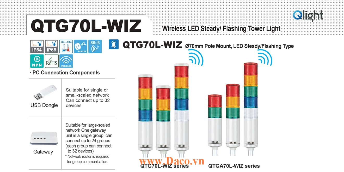 QTG70LF-WIZ-BZ-5-110/220-RAGBW Đèn tháp báo hiệu Qlight Φ70 Bóng LED 5 tầng Còi Buzzer 85dB IP54