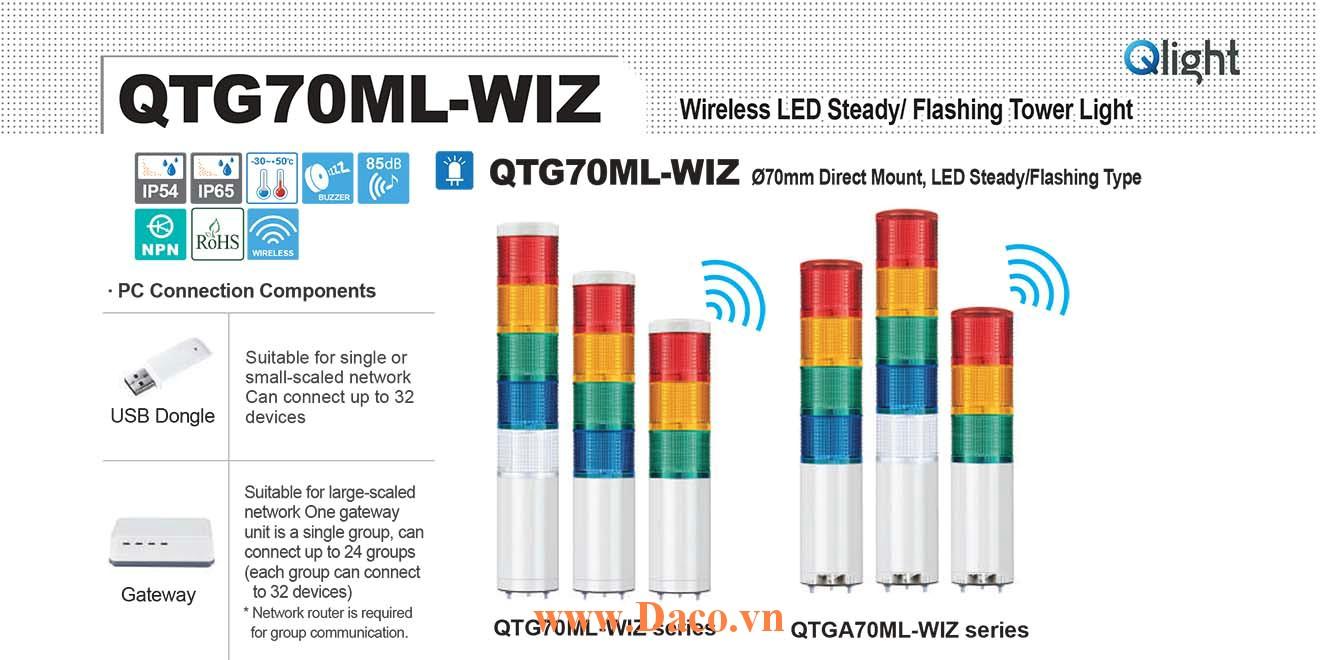 QTG70MLF-WIZ-BZ-5-24-RAGBW-TWS80 Đèn tháp không dây Qlight Φ70 Bóng LED 5 tầng Còi Buzzer 85dB IP54