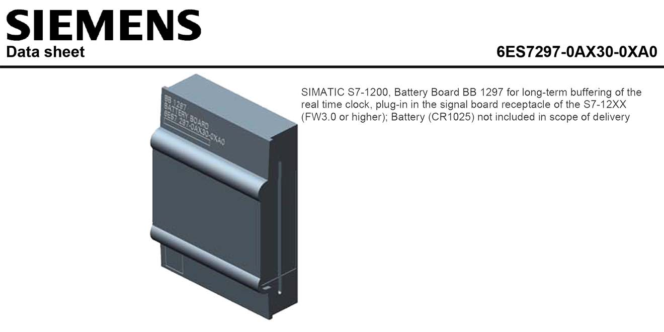 S7-1200 Battery Board Bảng mạch pin S7-1200 Siemens