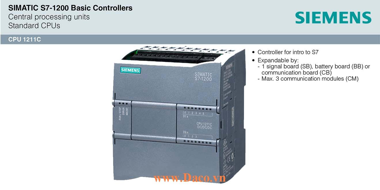 S7-1200 CPU 1211C Bộ điều khiển lập trình PLC Siemens 6DI/4DQ/2AI