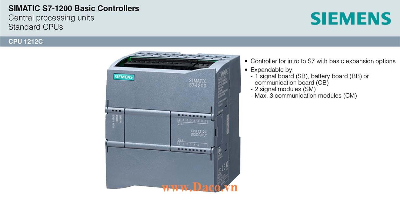 S7-1200 CPU 1212C Bộ điều khiển lập trình PLC Siemens 8DI/6DQ/2AI