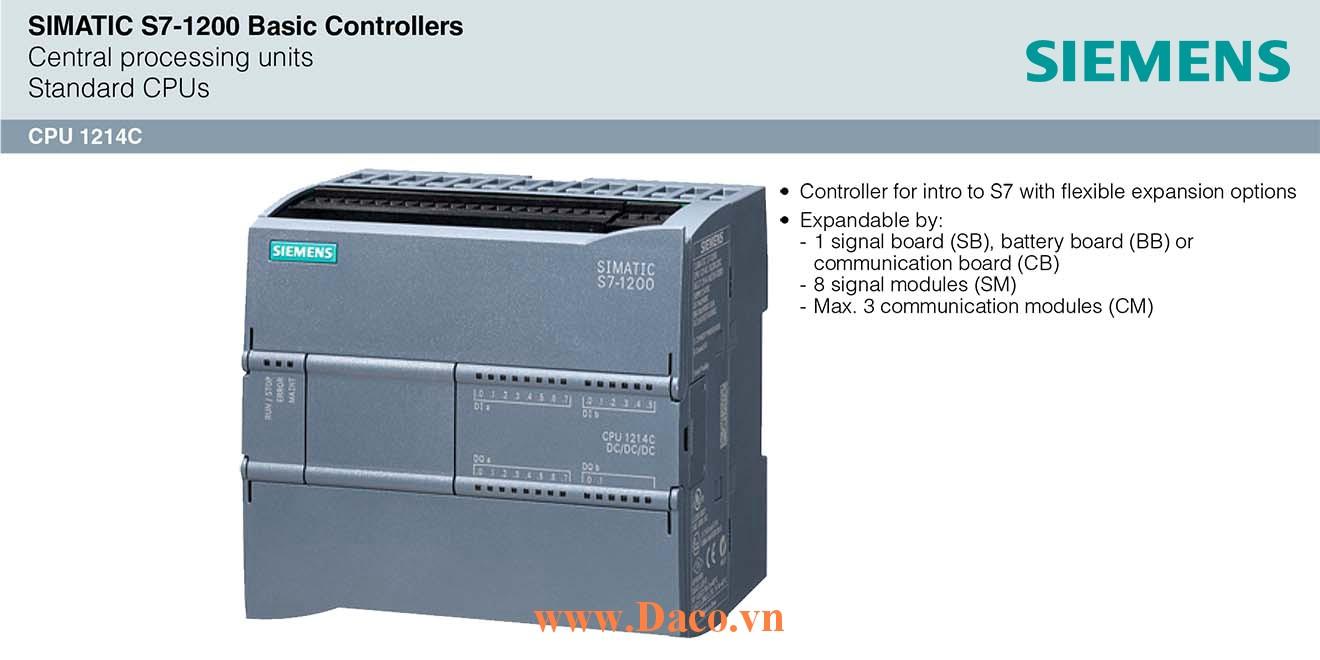 S7-1200 CPU 1214C Bộ điều khiển lập trình PLC Siemens 14DI/10DQ/2AI