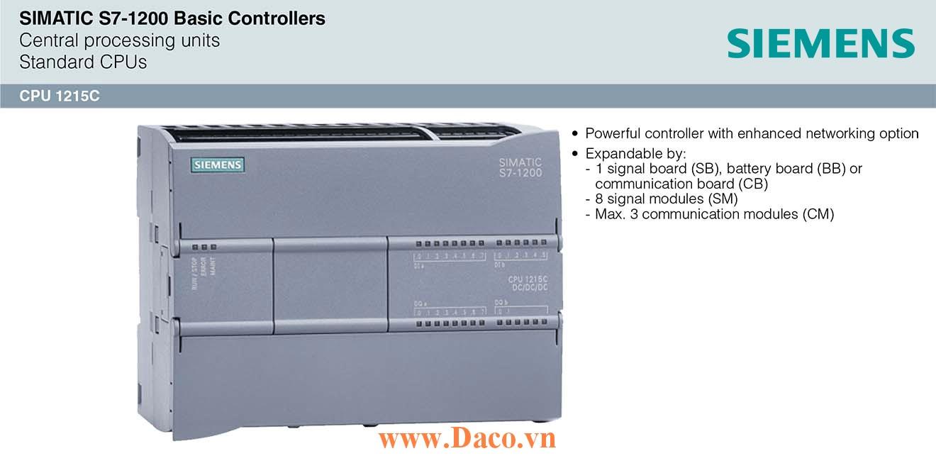 S7-1200 CPU 1215C Bộ điều khiển lập trình PLC Siemens 14DI/10DQ/2AI/2AQ