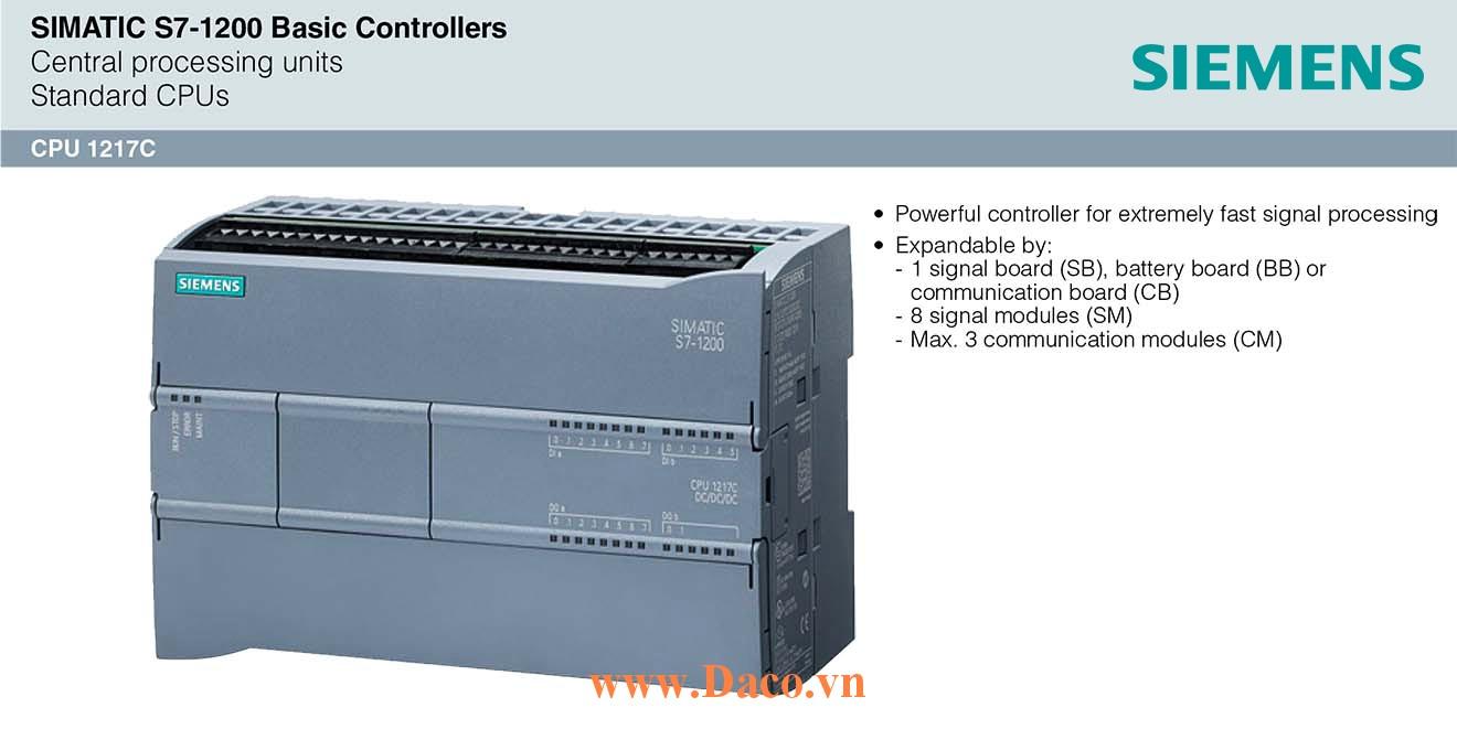 S7-1200 CPU 1217C Bộ điều khiển lập trình PLC Siemens 14DI/10DQ/2AI/2AQ