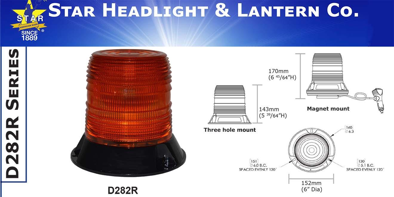 D282R Đèn báo tròn Star Headlight Φ15,2 cm Nhấp nháy, Quay giả lập