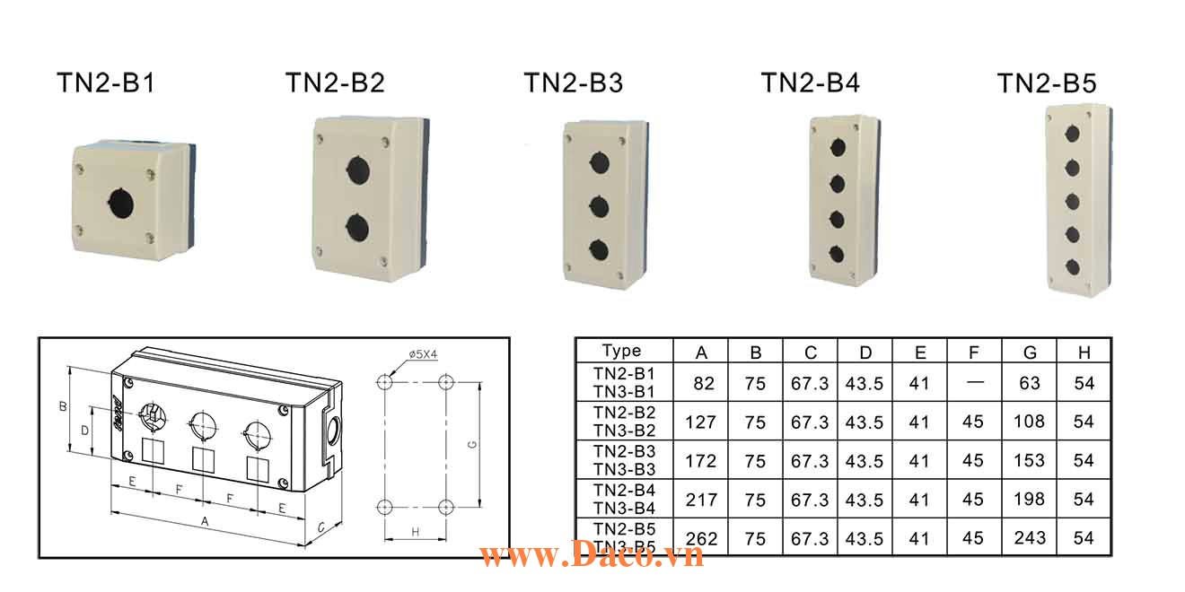 TN2-B Hộp nút nhấn Tend 1-2-3-4-5 lỗ Φ22