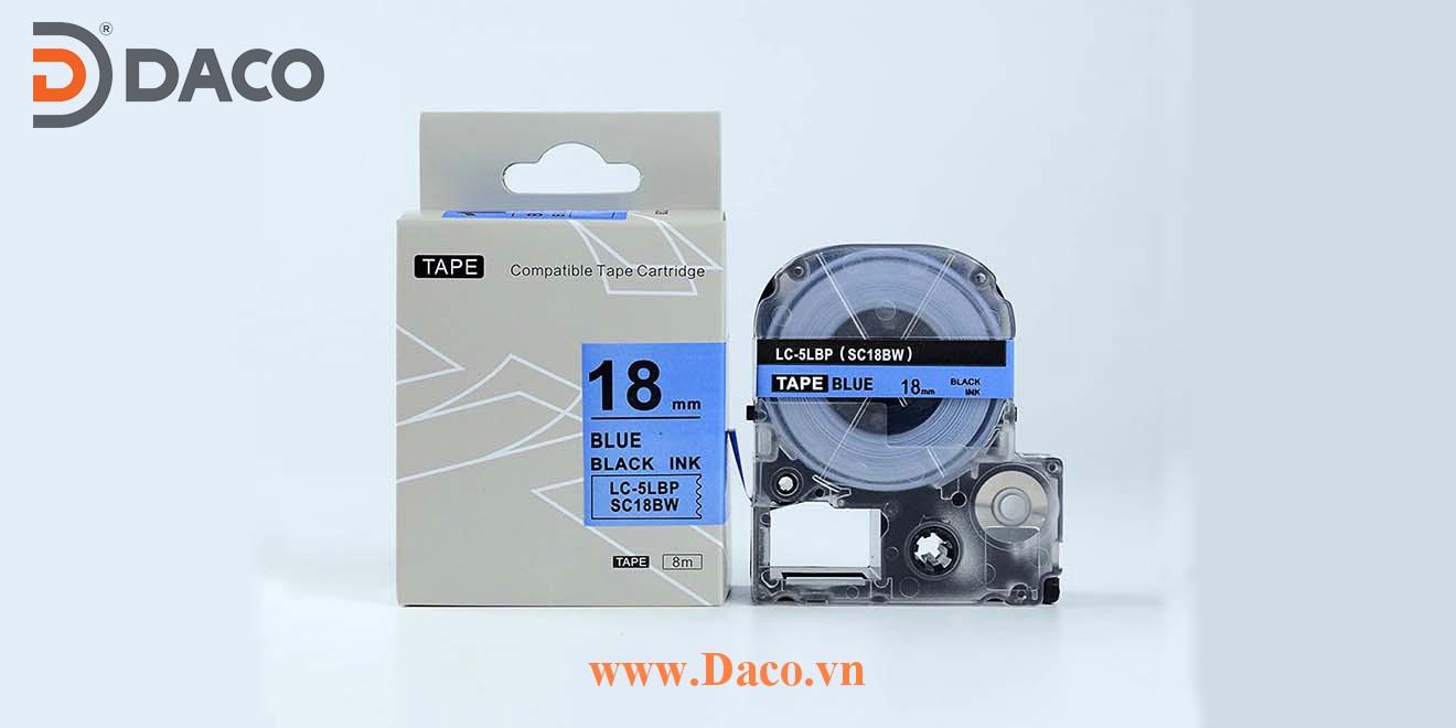 Băng nhãn in SCBW-LCLBP 4-6-9-12-18-24-36mm Chữ Đen Nền Xanh Blue