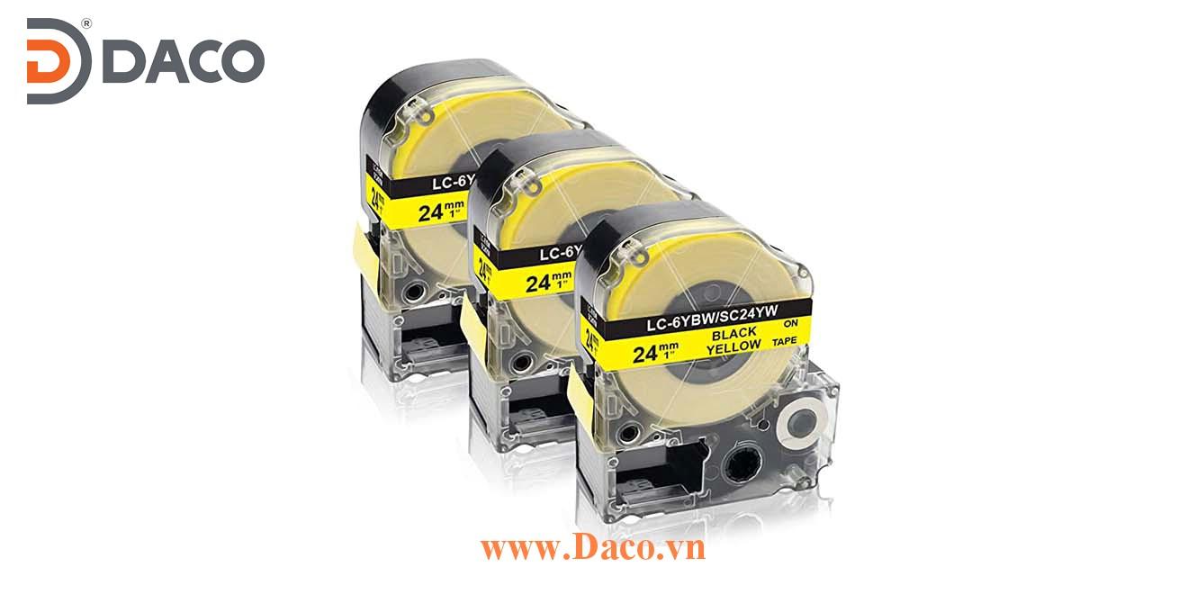 Băng nhãn in SCYW-LCYBW 4-6-9-12-18-24-36mm Chữ Đen Nền Vàng