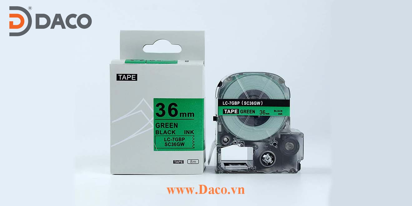 Băng nhãn in SCGW-LCGBP 4-6-9-12-18-24-36mm Chữ Đen Nền Xanh Green