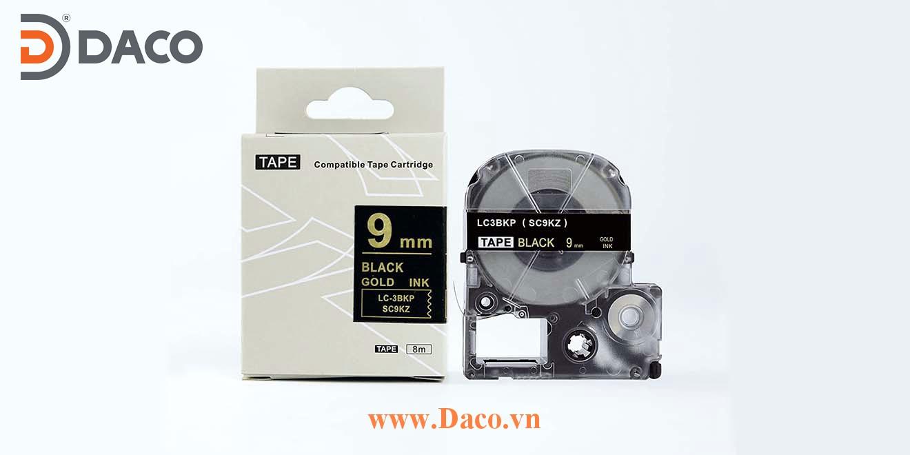 Băng nhãn in SCKZ-LCBKP 4-6-9-12-18-24-36mm Chữ Vàng Gold Nền Đen