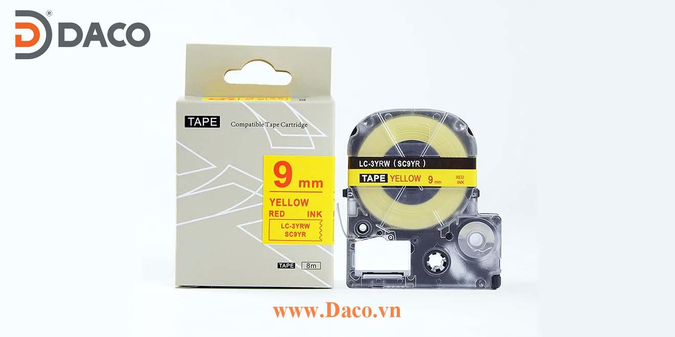 Băng nhãn in SCYR-LCYRW 4-6-9-12-18-24-36mm Chữ Đỏ Nền Vàng