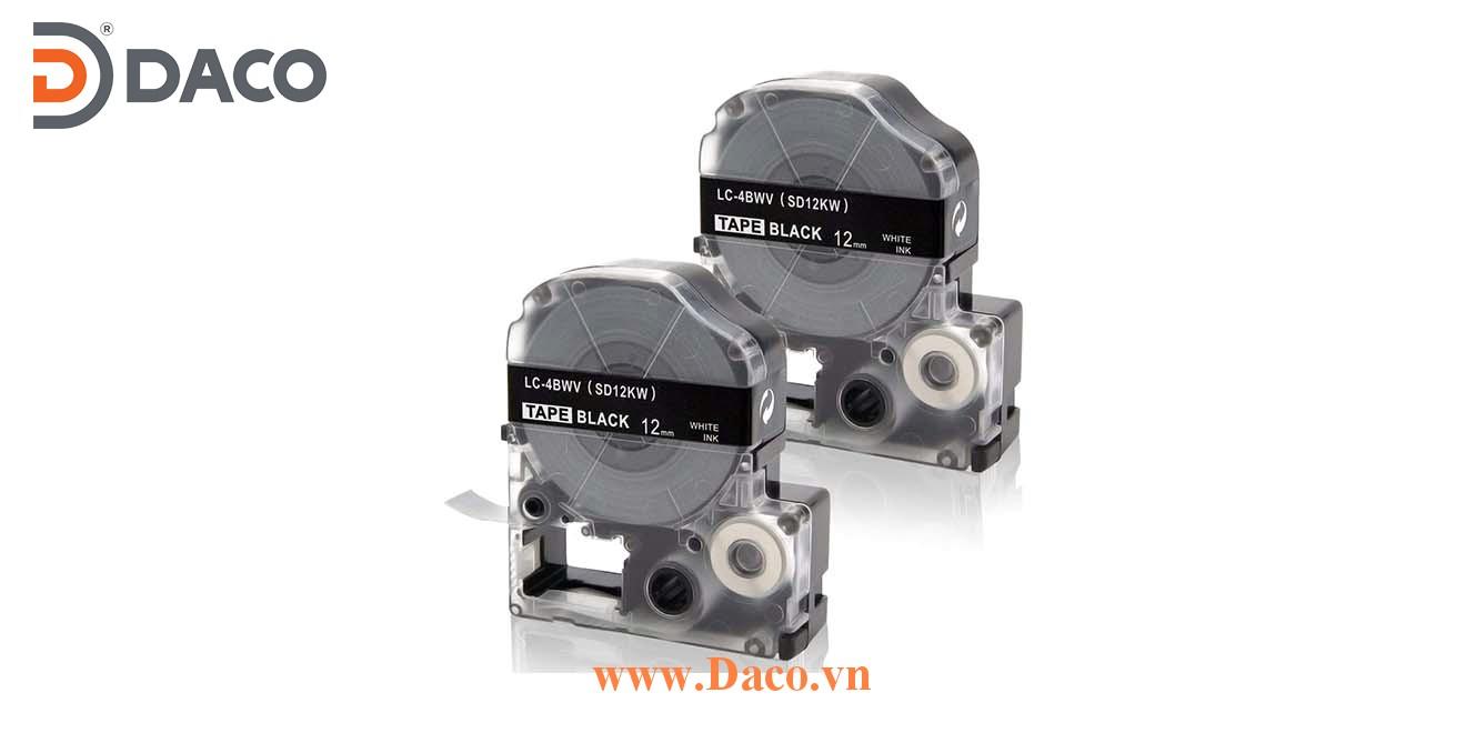 Băng nhãn in SDKW-LCBWV 4-6-9-12-18-24-36mm Chữ Trắng Nền Đen