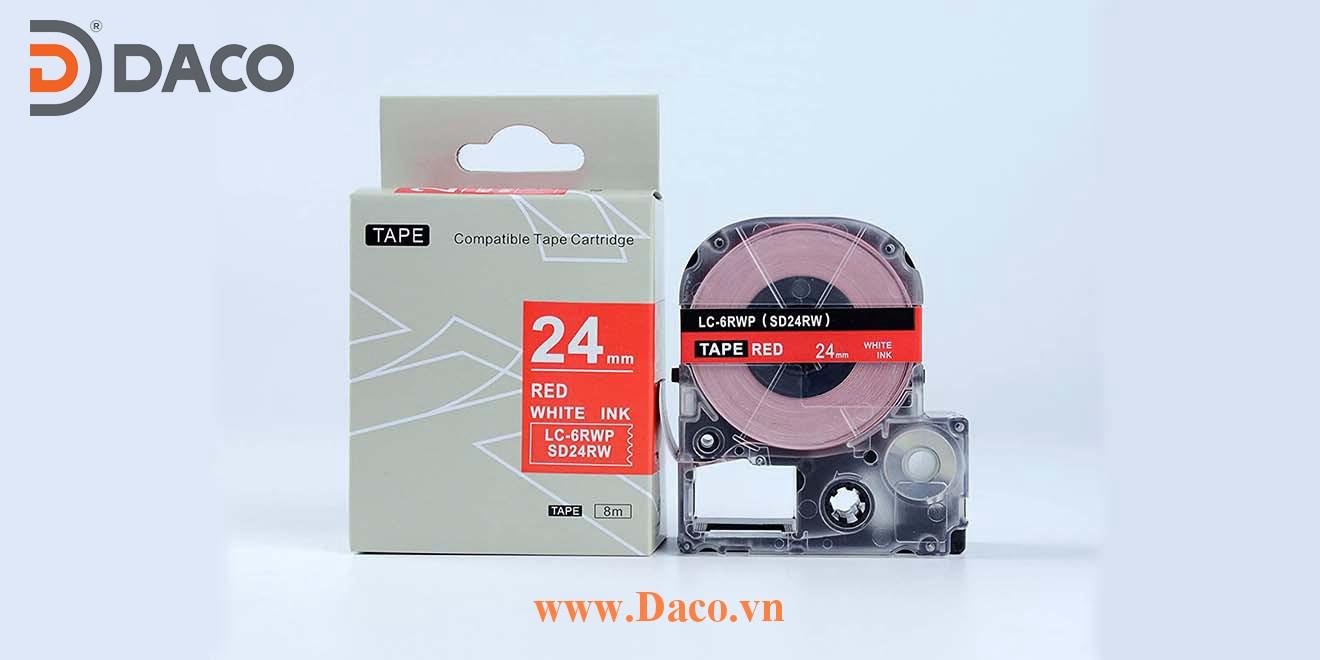 Băng nhãn in SDRW-LCRWP 4-6-9-12-18-24-36mm Chữ Trắng Nền Đỏ