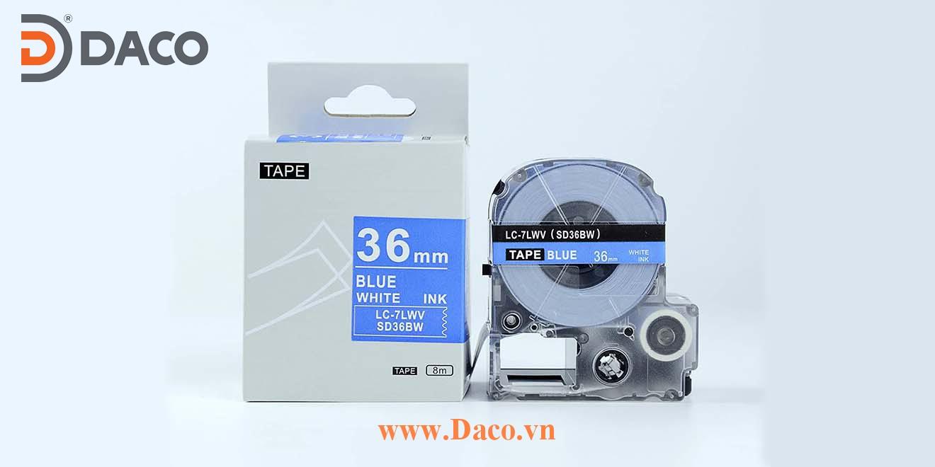 Băng nhãn in SDBW-LCLWV 4-6-9-12-18-24-36mm Chữ Trắng Nền Xanh Blue