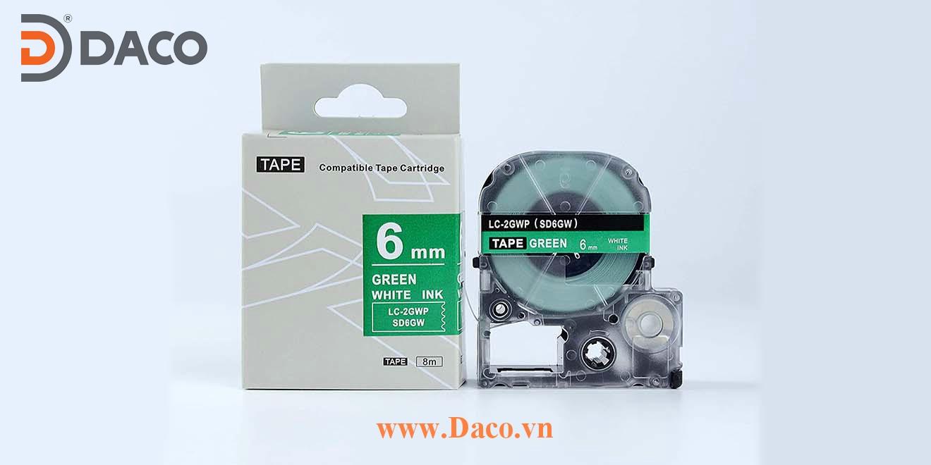 Băng nhãn in SDGW-LCGWP 4-6-9-12-18-24-36mm Chữ Trắng Nền Xanh Green