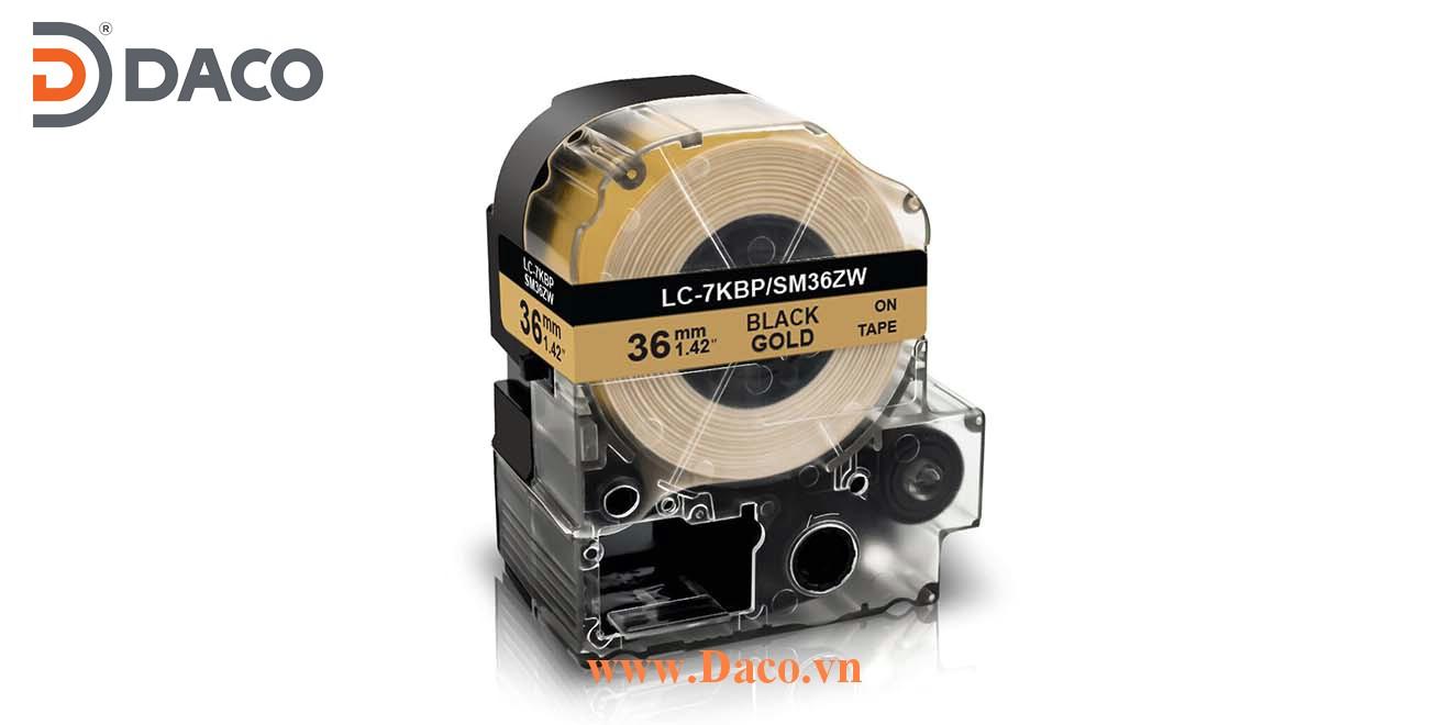 Băng nhãn in SMZW-LCKBP 4-6-9-12-18-24-36mm Chữ Đen Nền Vàng Gold