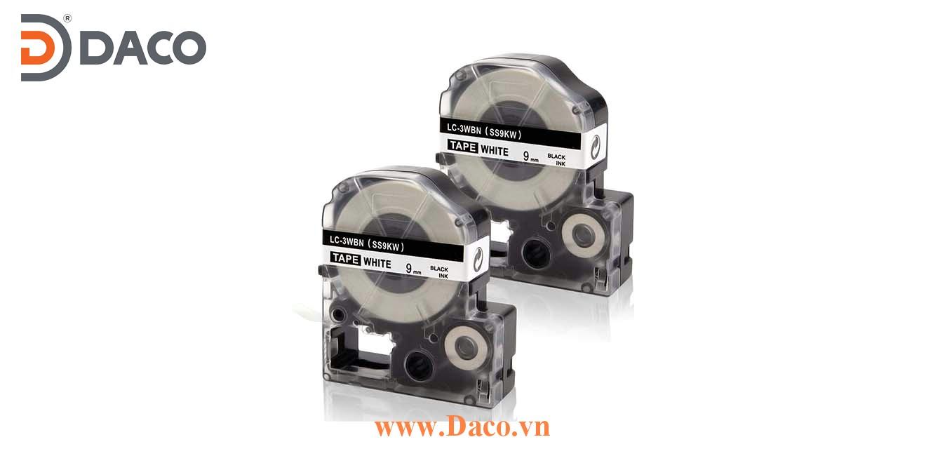 Băng nhãn in SSKW-LCWBN 4-6-9-12-18-24-36mm Chữ Đen Nền Trắng