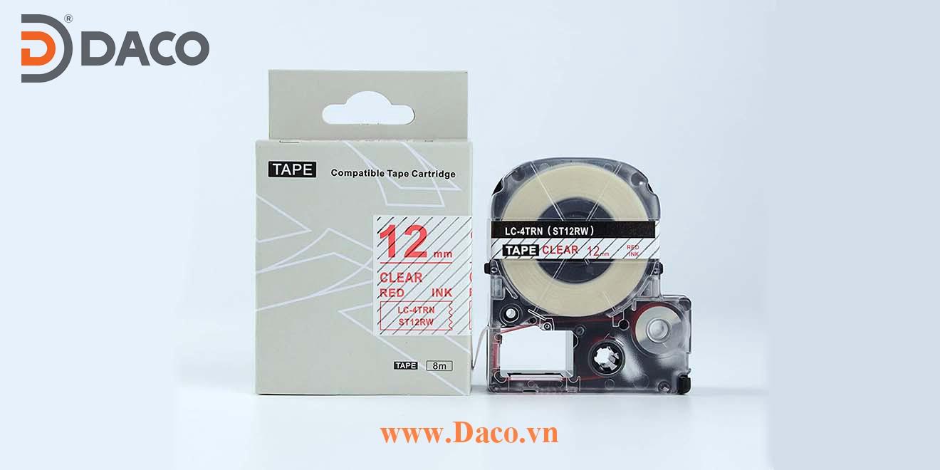 Băng nhãn in STRW-LCTRN 4-6-9-12-18-24-36mm Chữ Đỏ Nền Trắng Trong