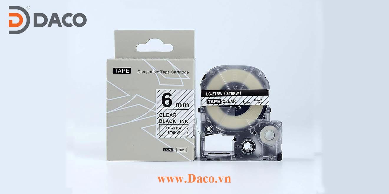 Băng nhãn in STKW-LCTBW 4-6-9-12-18-24-36mm Chữ Đen Nền Trắng Trong