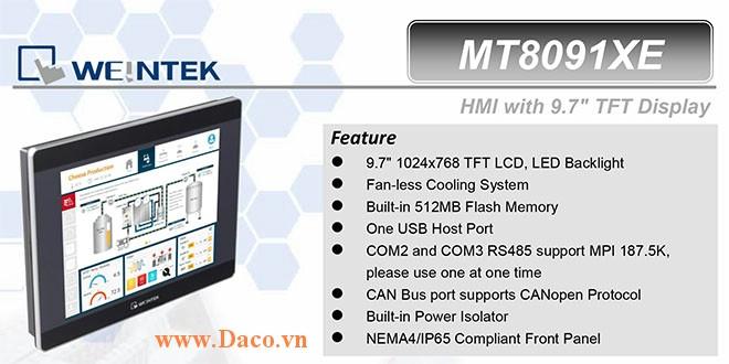 MT8091XE Màn hình cảm ứng HMI Weintek MT8000XE 9.7 Inch Màu RS232, RS422, RS485, LAN-CE, ATEX Zone 2