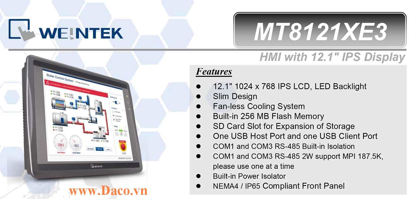 MT8121XE3 Màn hình cảm ứng HMI Weintek MT8000XE 12 Inch Màu RS232, RS422, RS485, LAN-CE