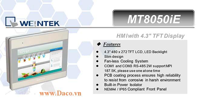 MT8050iE Màn hình cảm ứng HMI Weintek MT8000iE 4.3 Inch Màu RS232, RS422, RS485, LAN