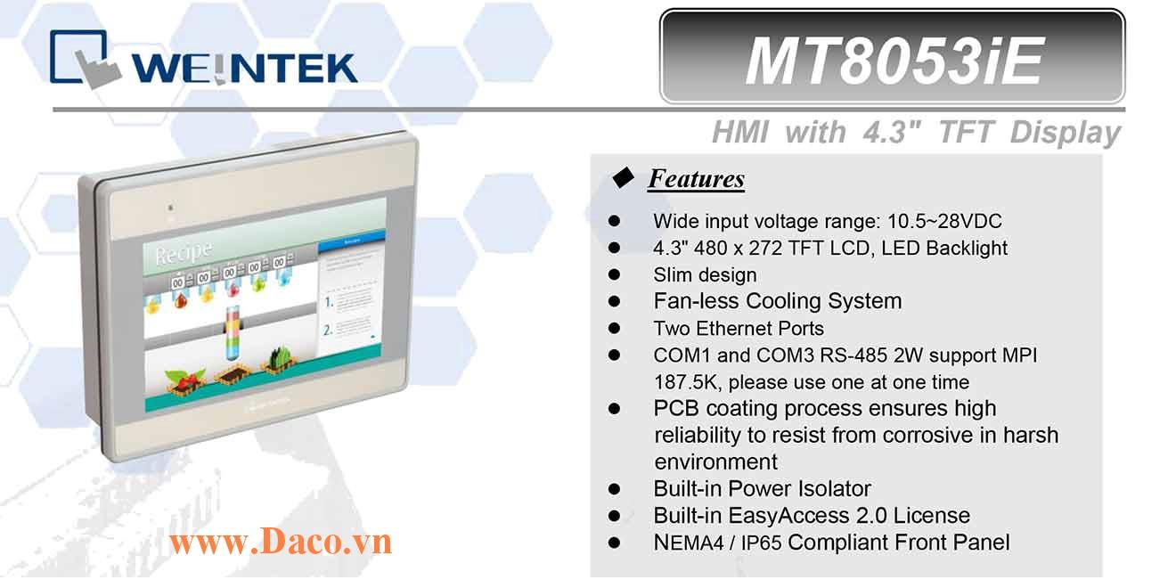 MT8053iE Màn hình cảm ứng HMI Weintek MT8000iE 4.3 Inch Màu RS232, RS422, RS485, LANx2