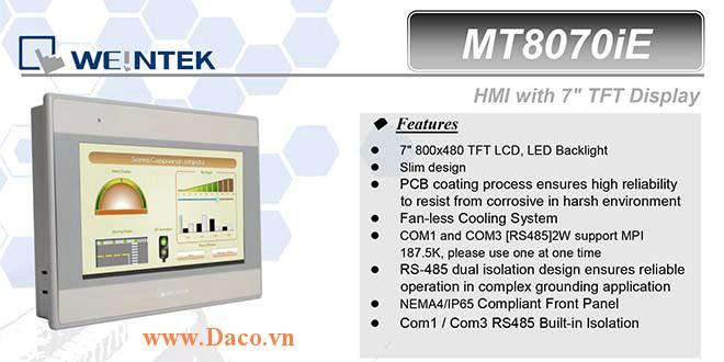 MT8070iE Màn hình cảm ứng HMI Weintek MT8000iE 7 Inch Màu RS232, RS422, RS485, LAN