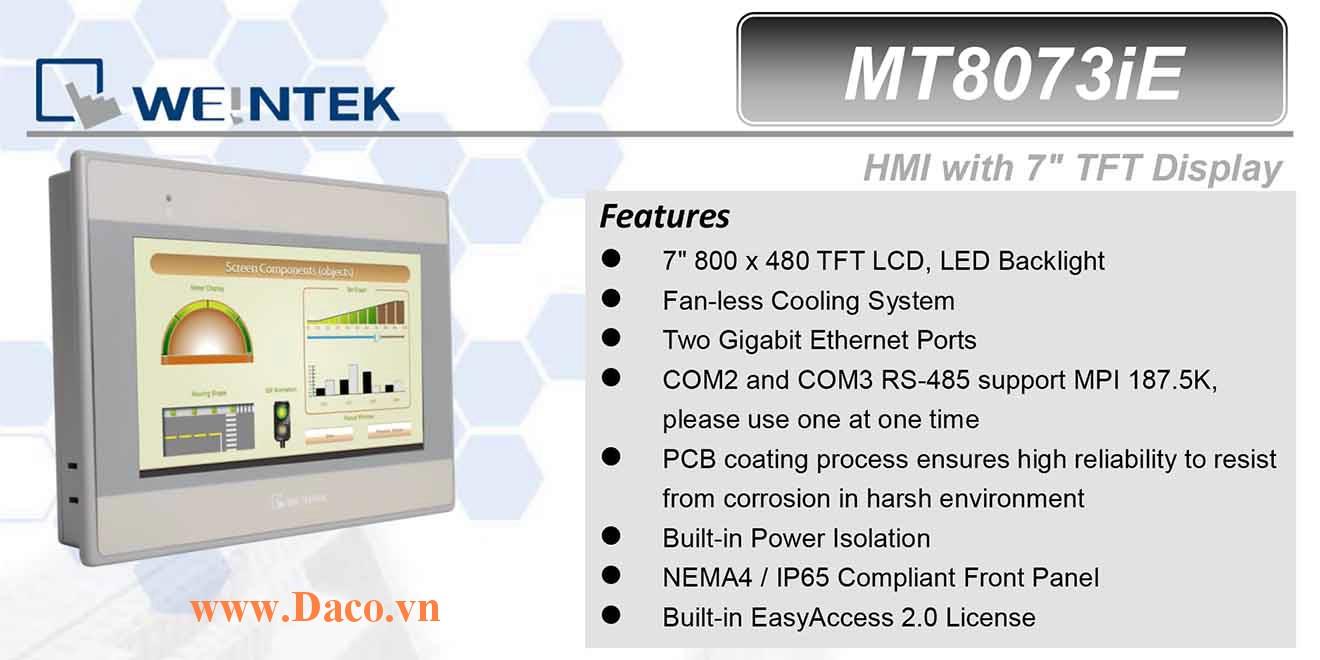 MT8073iE Màn hình cảm ứng HMI Weintek MT8000iE 7 Inch Màu RS232, RS422, RS485, LANx2
