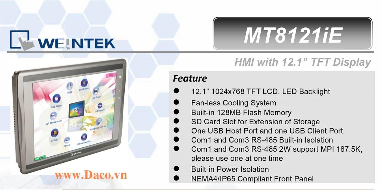 MT8121iE Màn hình cảm ứng HMI Weintek MT8000iE 12 Inch Màu RS232, RS422, RS485, LAN