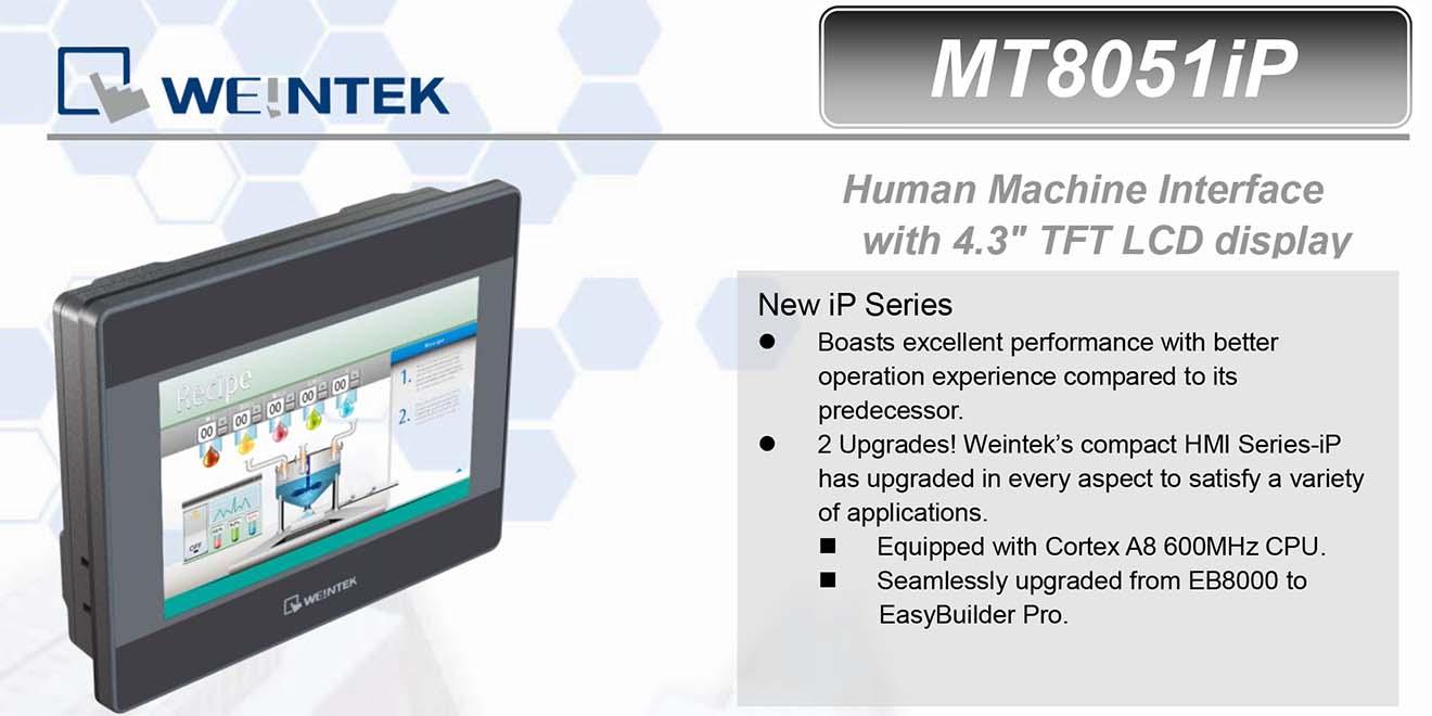 MT8051iP Màn hình cảm ứng HMI Weintek MT8000iP 4.3 Inch Màu RS232, RS422, RS485, LAN
