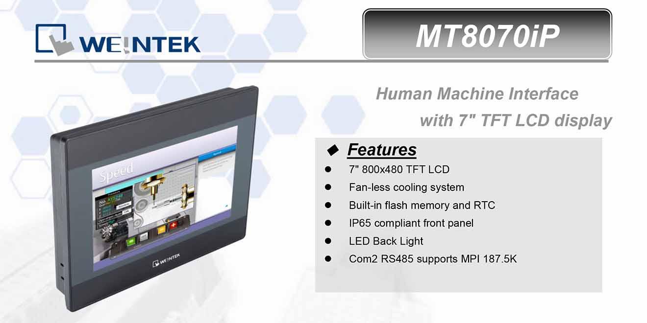 MT8070iP Màn hình cảm ứng HMI Weintek MT8000iP 7 Inch Màu RS232, RS422, RS485, LAN