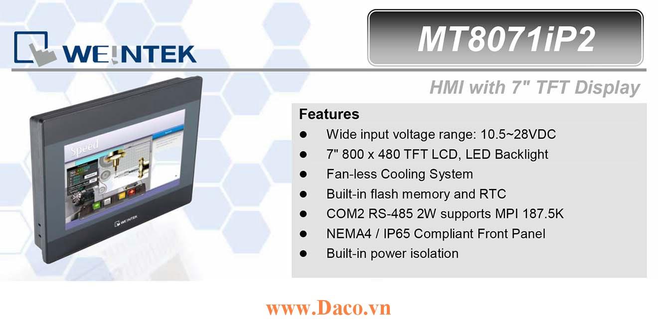 MT8071iP2 Màn hình cảm ứng HMI Weintek MT8000iP 7 Inch Màu RS232, RS422, RS485, LAN