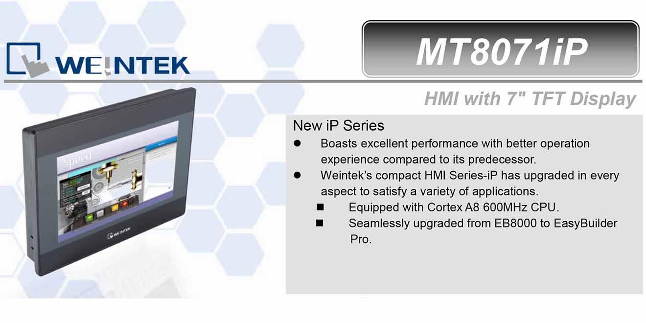 MT8071iP Màn hình cảm ứng HMI Weintek MT8000iP 7 Inch Màu RS232, RS422, RS485, LAN