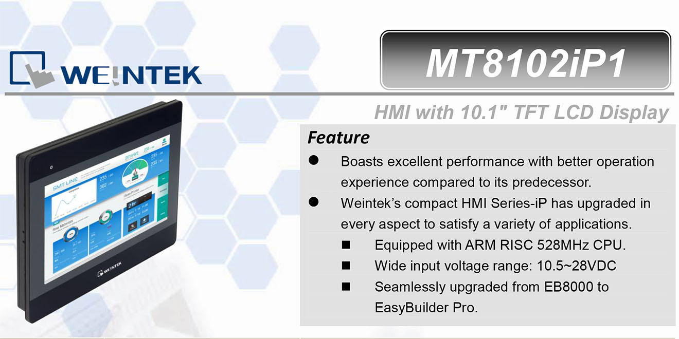 MT8102iP Màn hình cảm ứng HMI Weintek MT8000iP 10 Inch Màu RS232, RS422, RS485, LAN