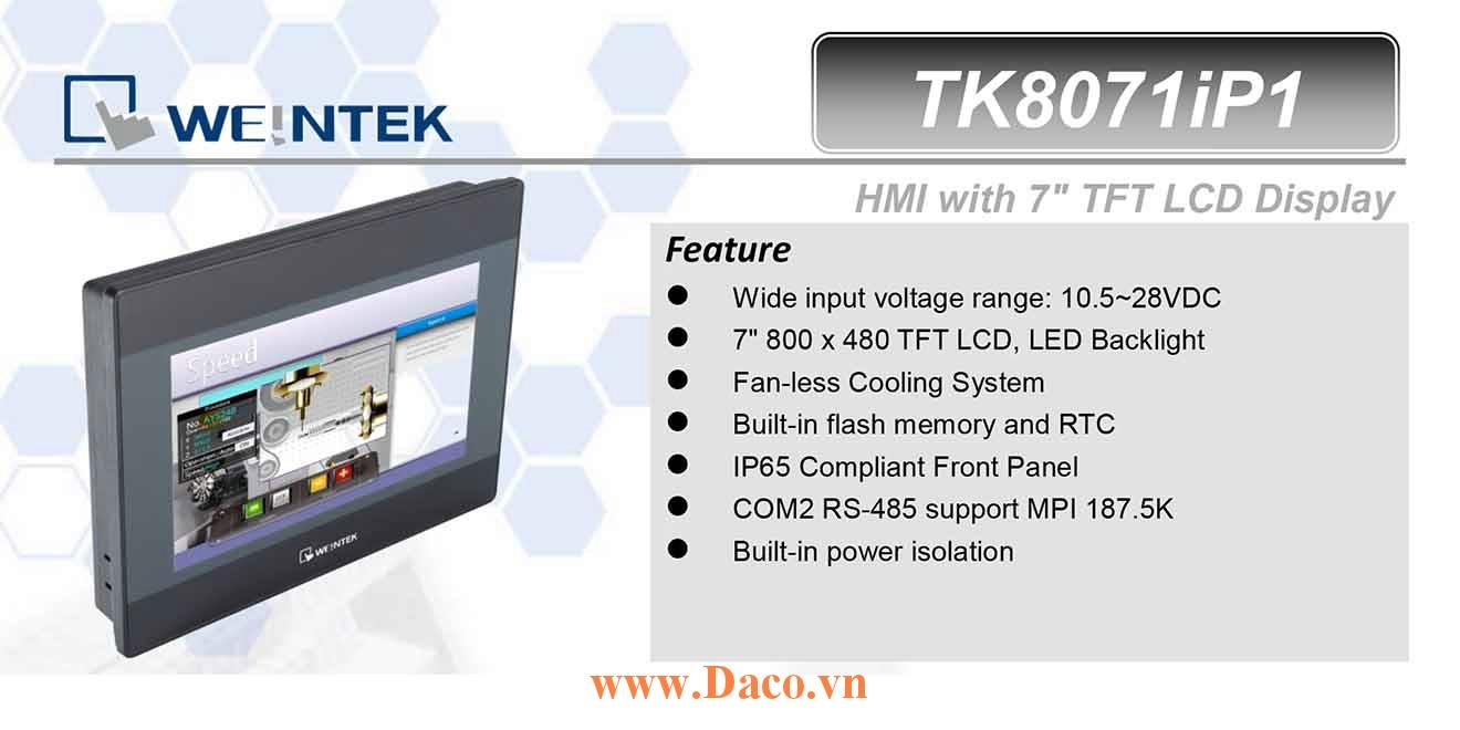 TK8071iP Màn hình cảm ứng HMI Weintek MT8000iP 7 Inch Màu RS232, RS422, RS485, LAN