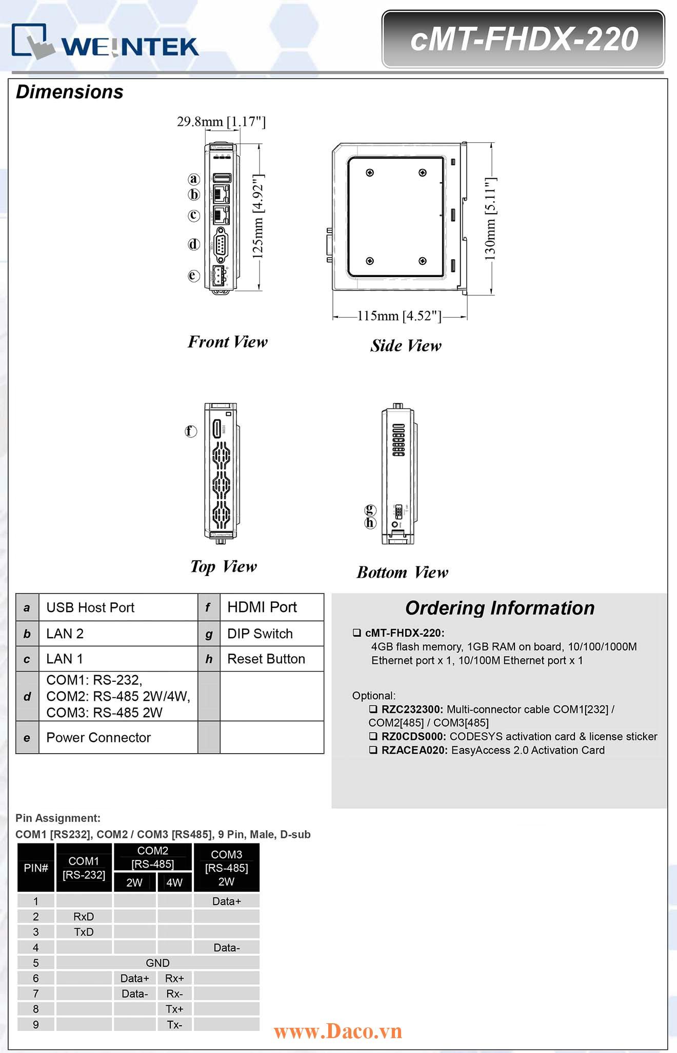 cMT-FHDX-220 Bộ giao tiếp hiển thị Tivi HDMI Weintek cMT RS232, RS422, RS485, LANx2, HDMI