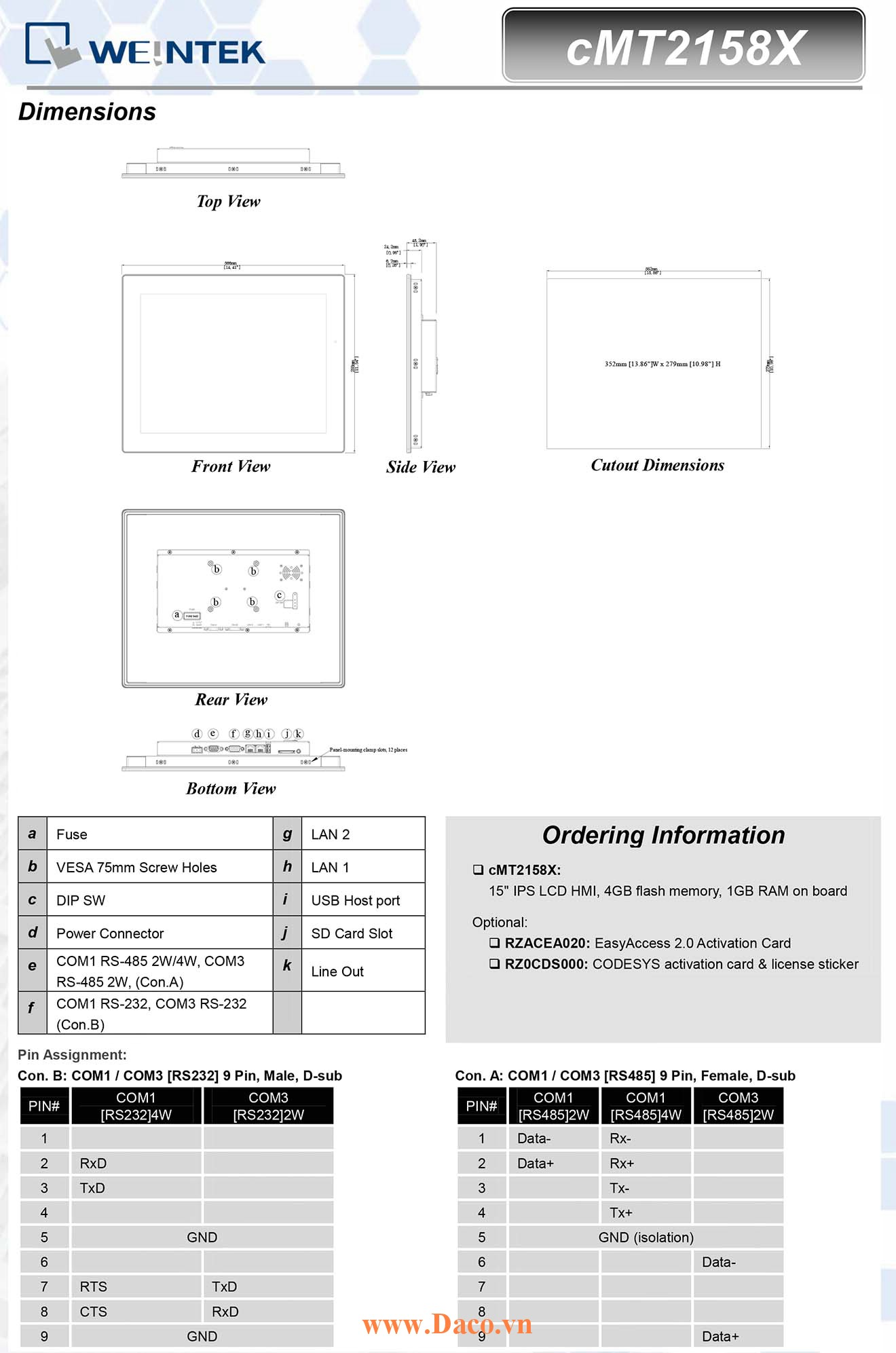 cMT2108X Màn hình cảm ứng HMI Weintek cMT 10.1 TFT Màu