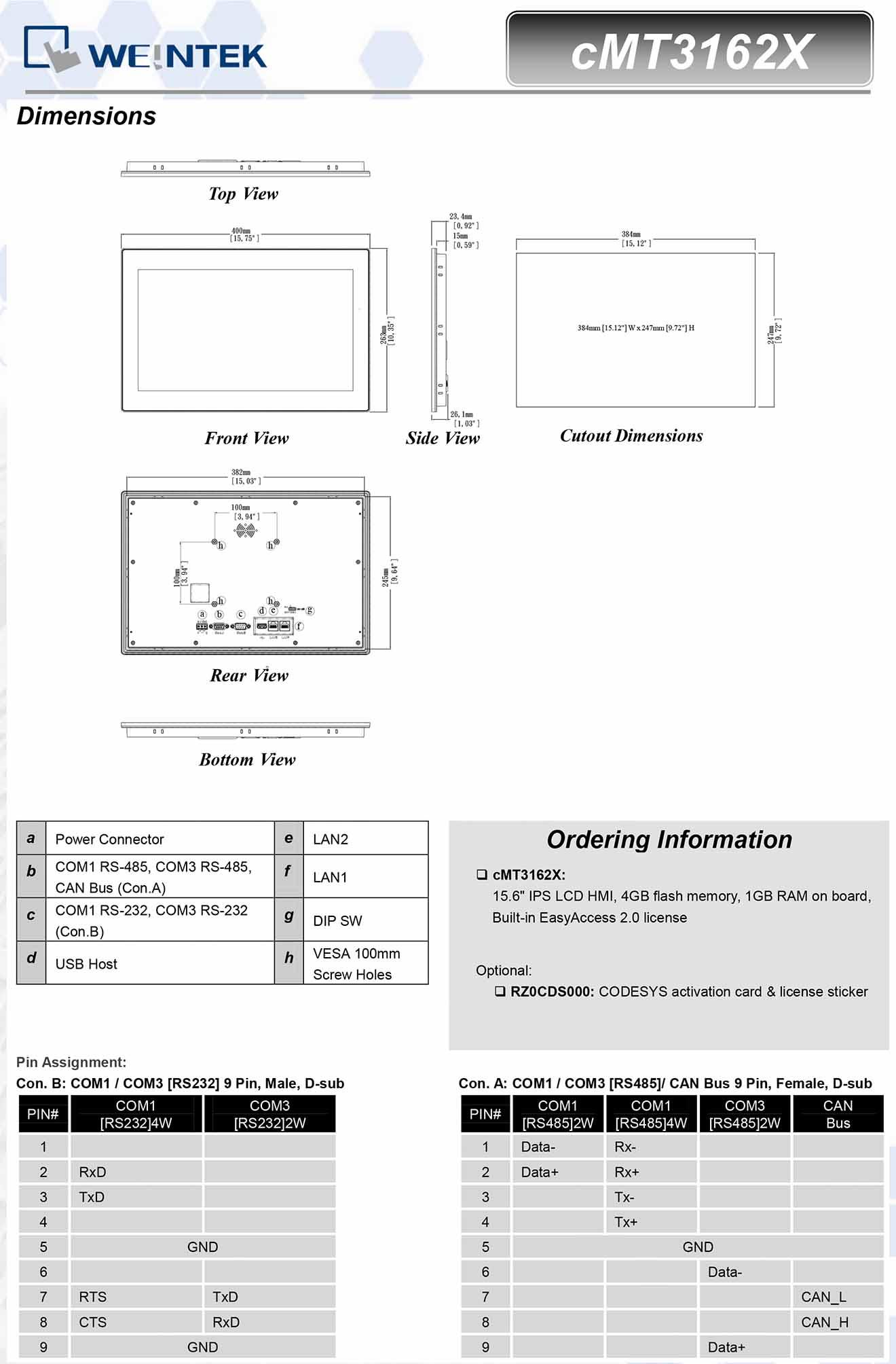 cMT3162X Màn hình cảm ứng HMI Weintek cMT 15.6 IPS Màu CAN Bus, Audio