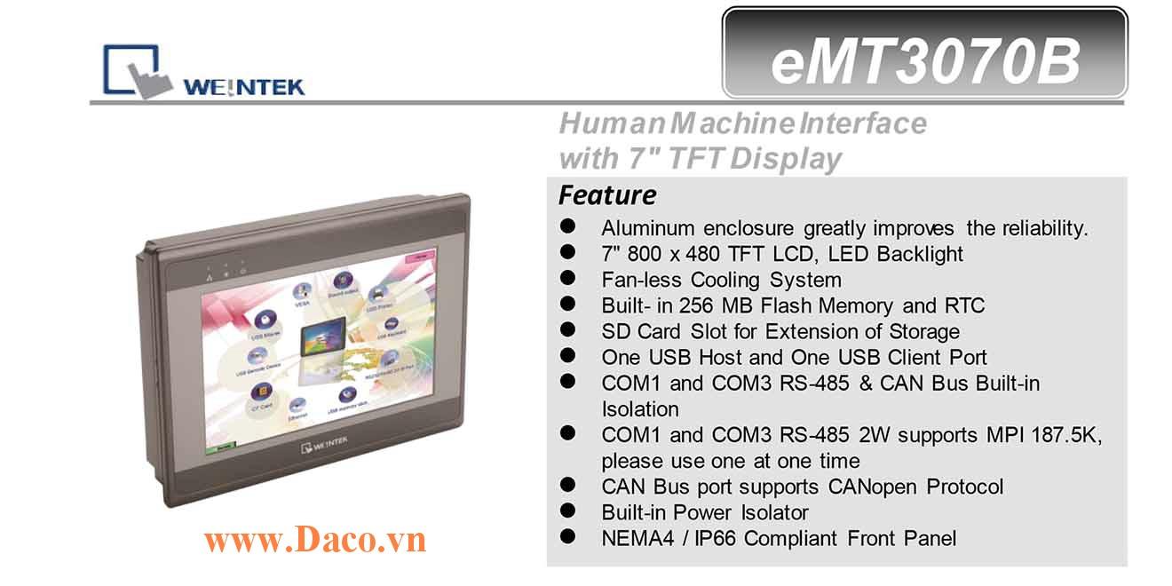 eMT3070B Màn hình cảm ứng HMI Weintek eMT3070B 7 Inch TFT CAN Bus, Audio
