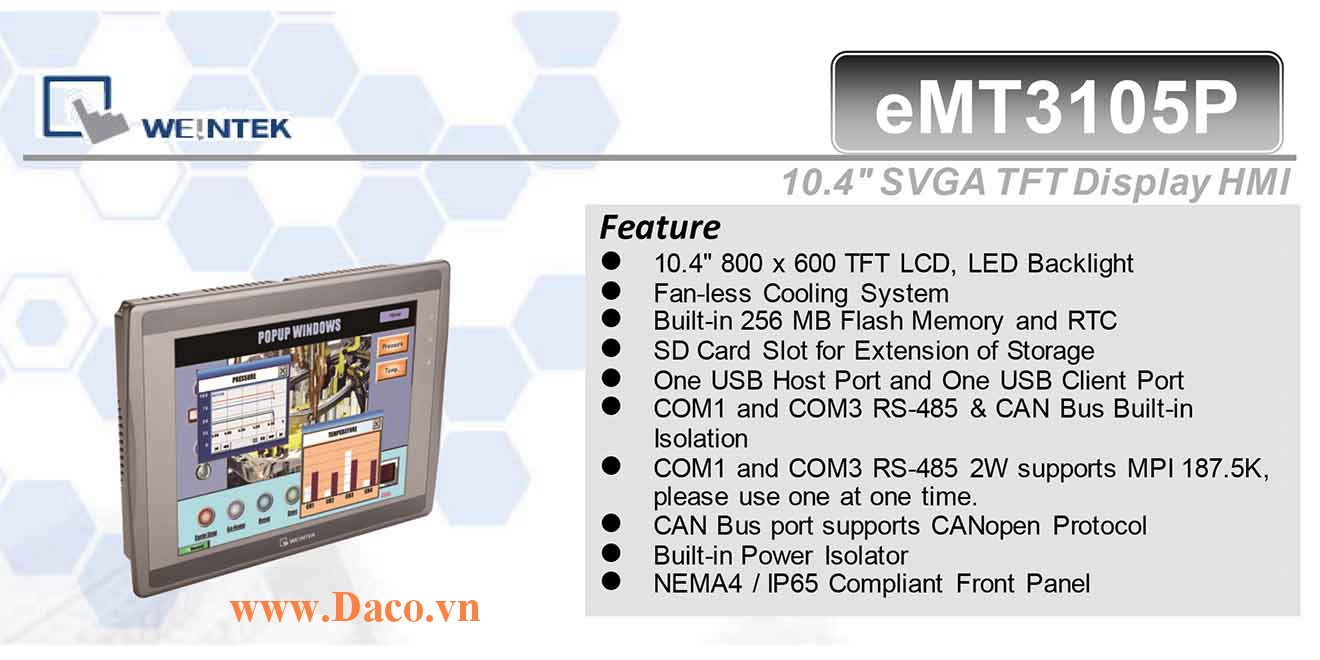 eMT3105P Màn hình cảm ứng HMI Weintek eMT3105P 10.4 Inch TFT CAN Bus, Audio