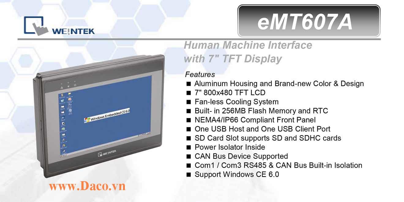 eMT607A Màn hình cảm ứng máy tính công nghiệp HMI Weintek eMT607A 7 Inch TFT CAN Bus, Audio