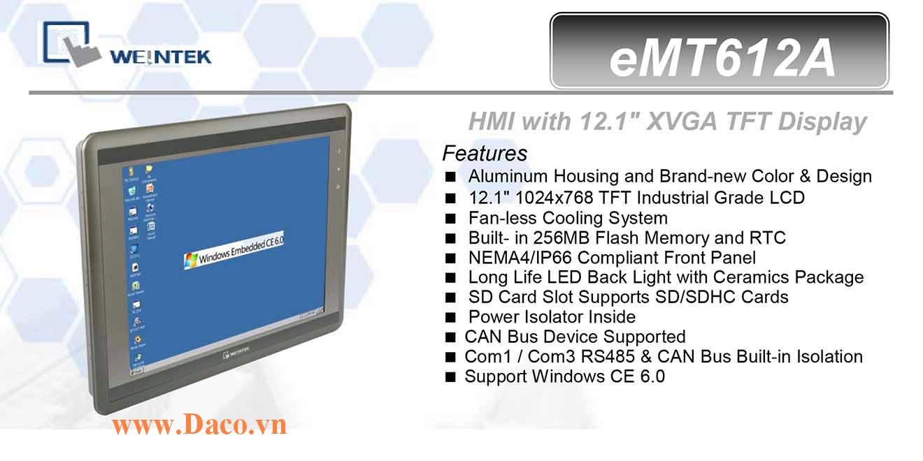 eMT612A Màn hình cảm ứng máy tính công nghiệp HMI Weintek eMT612A 12 Inch TFT CAN Bus, Audio