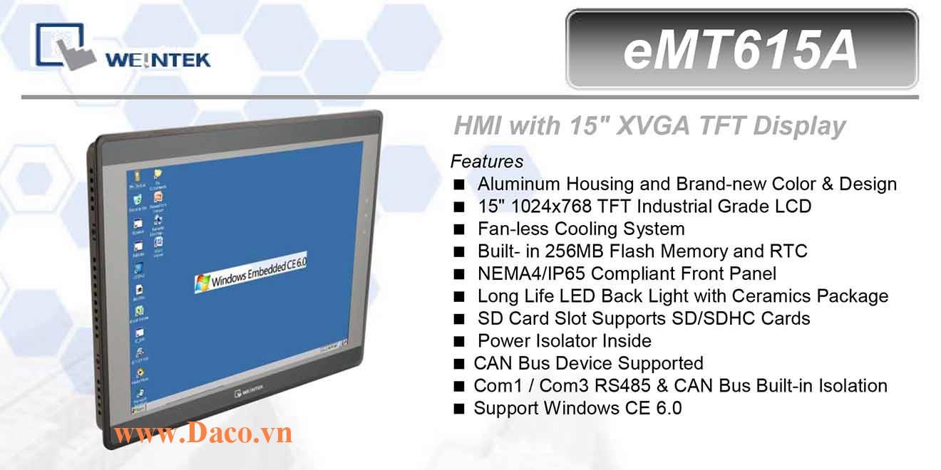 eMT615A Màn hình cảm ứng máy tính công nghiệp HMI Weintek eMT615A 15 Inch TFT CAN Bus, Audio